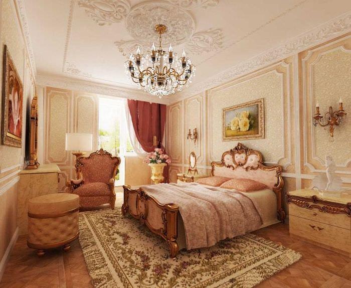 Дизайн спальни в стиле барокко с