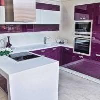 яркий декор кухни в фиолетовом оттенке картинка