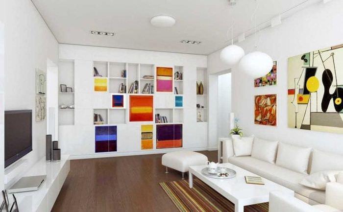 яркий стиль гостиной в стиле авангард