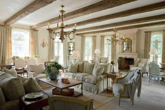 светлый декор гостиной в стиле прованс