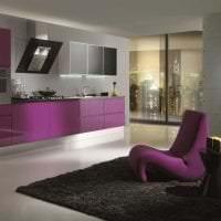 современный фасад кухни в фиолетовом цвете картинка