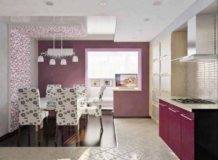 необычный дизайн кухни в фиолетовом оттенке
