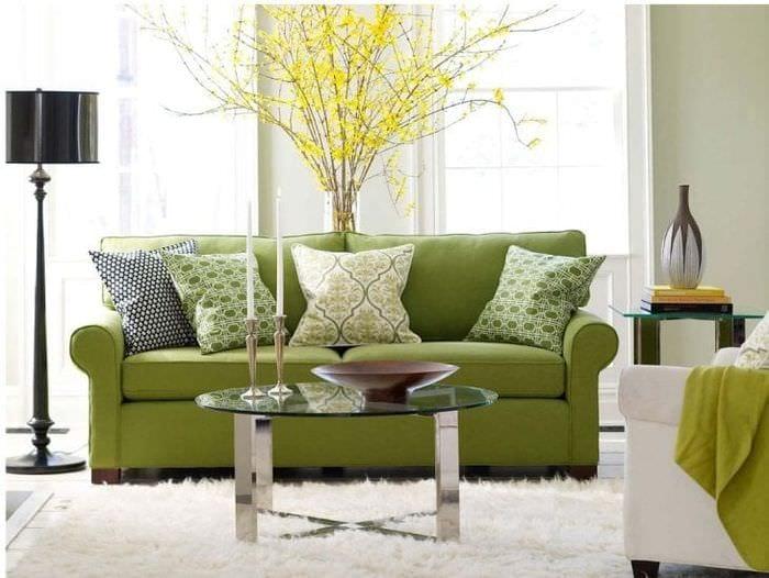 красивый фисташковый цвет в интерьере квартиры