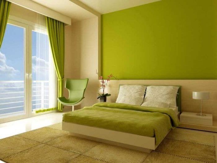 яркий фисташковый цвет в стиле спальни