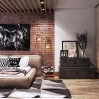 необычный дизайн гостиной в стиле лофт фото