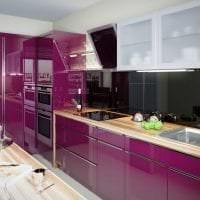 необычный интерьер кухни в фиолетовом цвете картинка