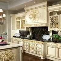 темный стиль элитной кухни в стиле арт деко фото