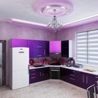 современный интерьер кухни в фиолетовом цвете картинка