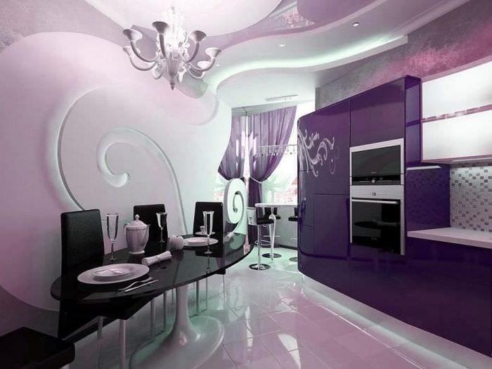 красивый интерьер кухни в фиолетовом оттенке