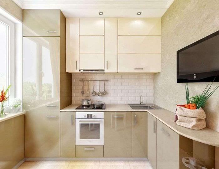 Белая угловая кухня 8 метров интерьере фото