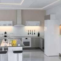 небольшой холодильник в фасаде кухни в черном цвете фото