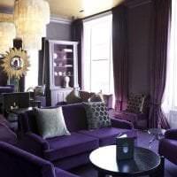 необычный стиль спальни в фиолетовом цвете картинка