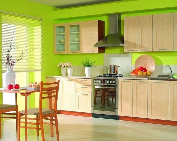 необычный фисташковый цвет в декоре кухни