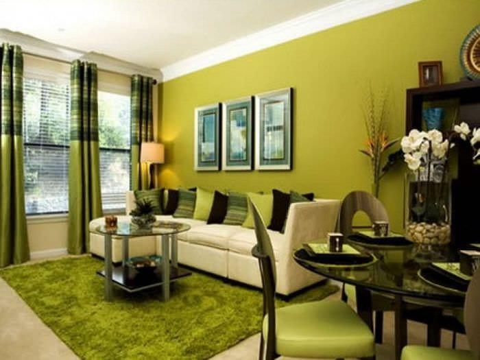яркий фисташковый цвет в интерьере квартиры