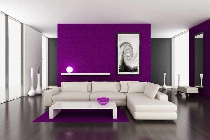 Гостиная в лиловом цвете дизайн