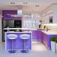 яркий фасад кухни в фиолетовом оттенке картинка