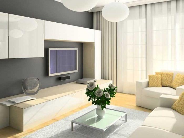 Фото дизайн гостиной комнаты с белой мебелью