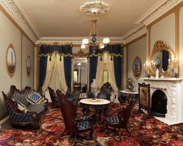 необычный дизайн спальни в стиле барокко