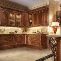 красивый декор элитной кухни в стиле классика фото