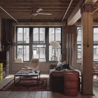 светлый декор гостиной в стиле гранж фото