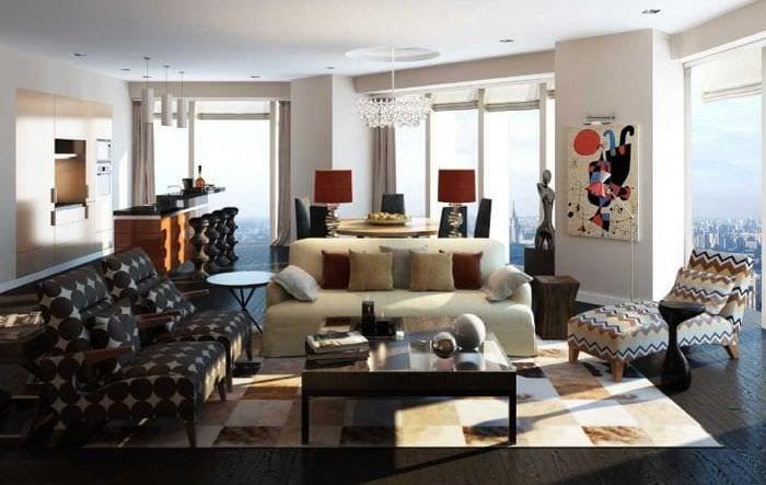 необычный декор квартиры в стиле фьюжн