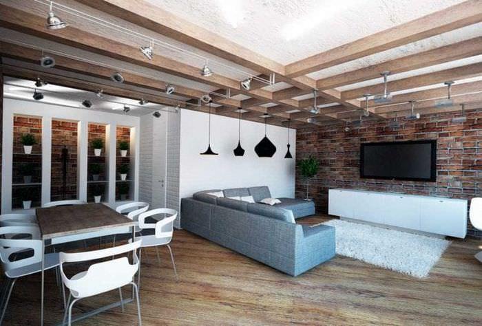 необычный стиль гостиной в стиле лофт