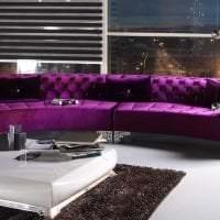темный фиолетовый диван в дизайне спальни фото