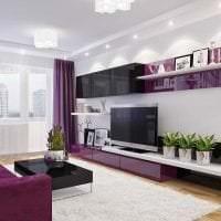 темный фиолетовый диван в интерьере прихожей картинка