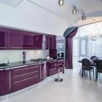 светлый стиль кухни в фиолетовом цвете картинка