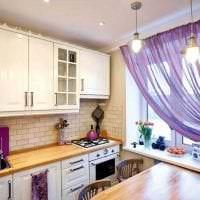 красивый фасад кухни в фиолетовом цвете фото