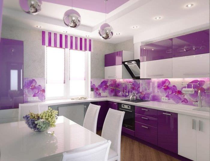 современный фасад кухни в фиолетовом оттенке