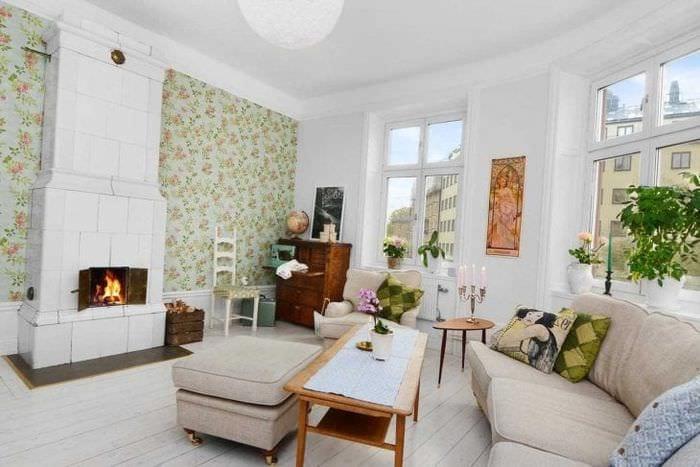 яркий интерьер квартиры в шведском стиле