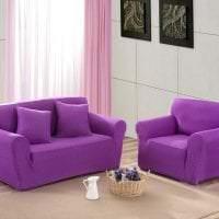 светлый фиолетовый диван в дизайне квартиры картинка