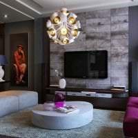 светлый фиолетовый диван в декоре квартиры фото