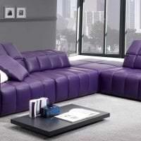 темный фиолетовый диван в дизайне гостиной фото