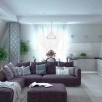 темный фиолетовый диван в стиле спальни фото