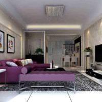 темный фиолетовый диван в декоре прихожей фото