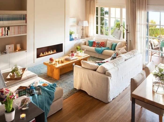 уютный светлый стиль гостиной