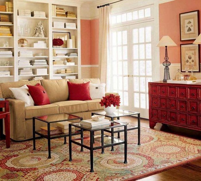 насыщенный бордовый цвет в дизайне квартиры