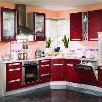 красивый бордовый цвет в дизайне кухни фото