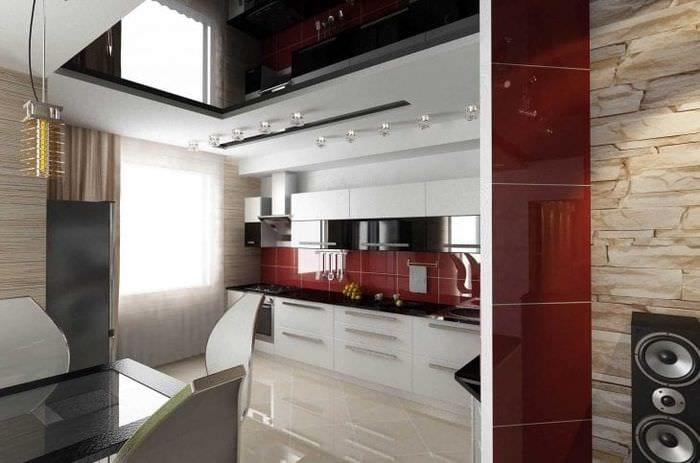 темный дизайн элитной кухни в стиле модерн