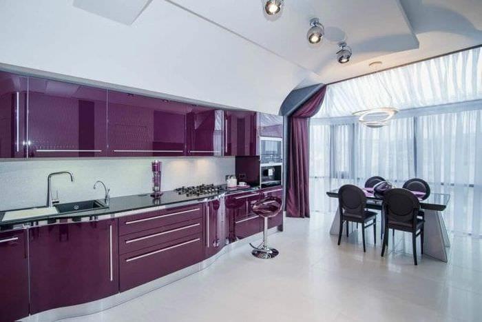 Фиолетовая кухня: 120 фото, обои, кухонный гарнитур, плитка