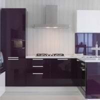 современный интерьер кухни в фиолетовом оттенке картинка