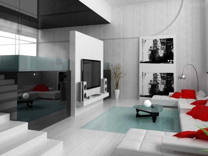 яркий дизайн коридора в стиле авангард