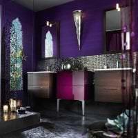 светлый стиль кухни в фиолетовом цвете фото