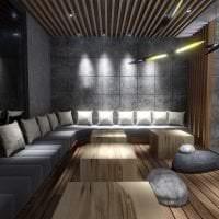 темный эргономичный дизайн гостиной фото