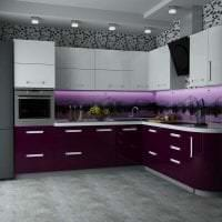 яркий стиль кухни в фиолетовом оттенке картинка