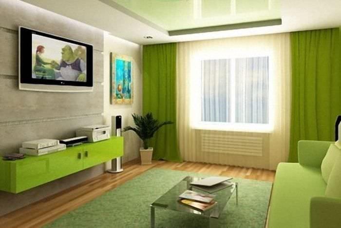 Салатовый цвет в интерьере гостиной фото