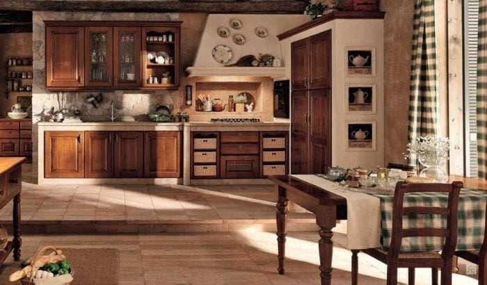 светлый декор кухни в стиле кантри