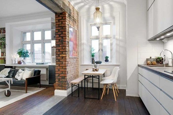 необычный интерьер кухни в шведском стиле